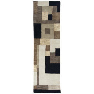 Hand-Tufted Brown Area Rug Rug Size: Runner 26 x 8