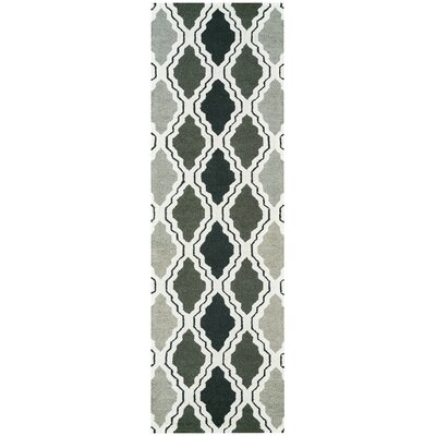 Hand-Tufted Gray Area Rug Rug Size: Runner 26 x 8