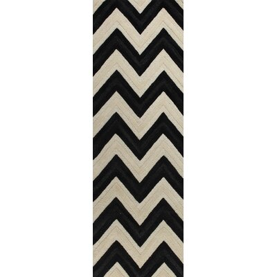 Hand-Tufted Ivory/Black Area Rug Rug Size: Runner 26 x 8