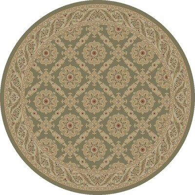 Heather Green Aubusson Area Rug Rug Size: Round 53
