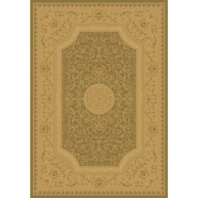 Heather Green / Tan Savonnerie Area Rug Rug Size: 53 x 77