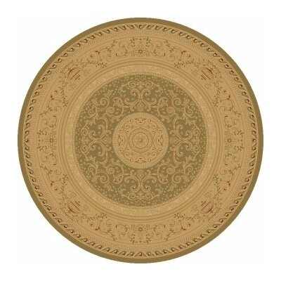 Heather Green / Tan Savonnerie Area Rug Rug Size: Round 53