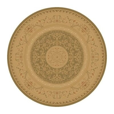 Heather Green / Tan Savonnerie Area Rug Rug Size: Round 710