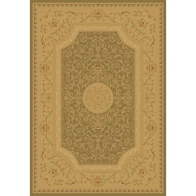Heather Green / Tan Savonnerie Area Rug Rug Size: 67 x 96