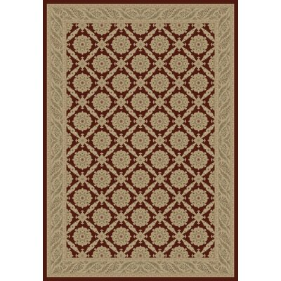Red Aubusson Area Rug Rug Size: Rectangle 53 x 77