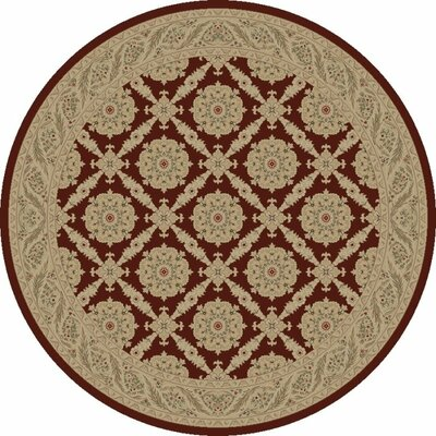 Red Aubusson Area Rug Rug Size: Round 53