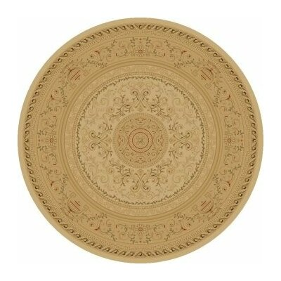 Ivory Savonnerie Area Rug Rug Size: Round 53