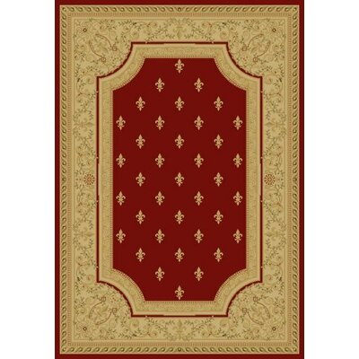 Red Fleur De Lys Area Rug Rug Size: Rectangle 89 x 123