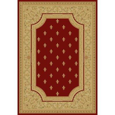 Red Fleur De Lys Area Rug Rug Size: 53 x 77