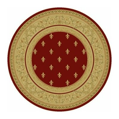 Red Fleur De Lys Area Rug Rug Size: Round 5'3