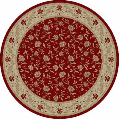 Imperial Charlemagne Red Serenity Area Rug Rug Size: Round 53