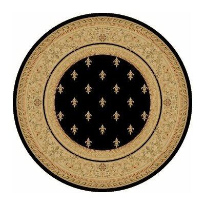Black Fleur De Lys Area Rug Rug Size: Round 710
