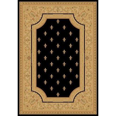 Black Fleur De Lys Area Rug Rug Size: 710 x 1010