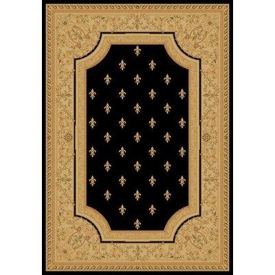 Black Fleur De Lys Area Rug Rug Size: 311 x 57