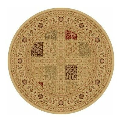 Ivory Magnificent Panel Area Rug Rug Size: Round 53