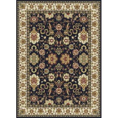 Kashmir Agra Black Area Rug Rug Size: 93 x 126