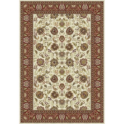 Kashmir Tabriz Ivory Area Rug Rug Size: 67 x 96