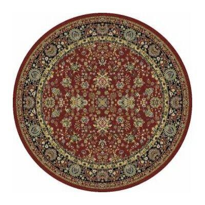 Kashmir Sarouk Red Rug Rug Size: Round 53