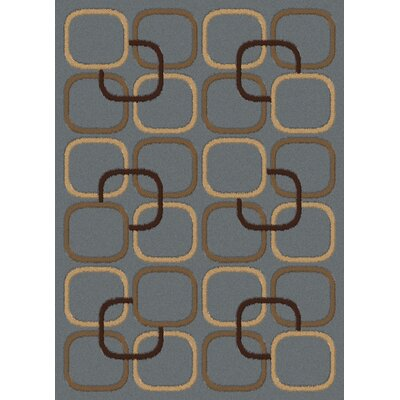 Lara Squares Blue Contemporary Rectangular Rug Rug Size: Rectangle 53 x 73