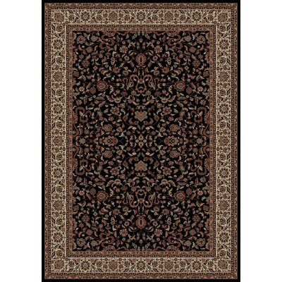 Persian Classics Black Oriental Kashan Area Rug Rug Size: Rectangle 53 x 77