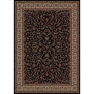 Persian Classics Black Oriental Kashan Area Rug Rug Size: 53 x 77