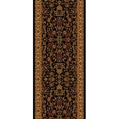 Persian Classics Black Oriental Kashan Area Rug Rug Size: Runner 2 x 77