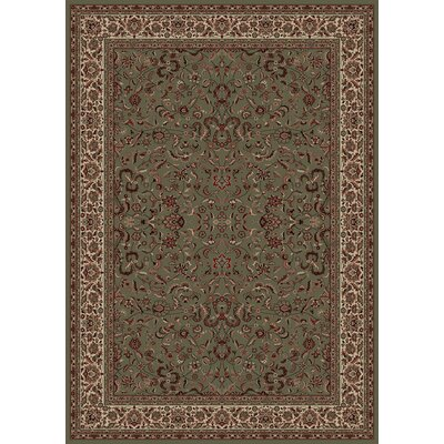 Persian Classics Oriental Kashan Green Area Rug Rug Size: 53 x 77
