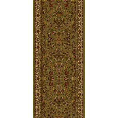 Persian Classics Oriental Kashan Green Area Rug Rug Size: Runner 2 x 77