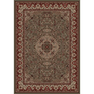 Persian Classics Green/Red Oriental Isfahan Area Rug Rug Size: 53 x 77