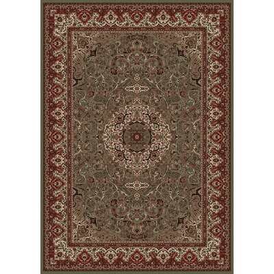 Persian Classics Green/Red Oriental Isfahan Area Rug Rug Size: 67 x 96