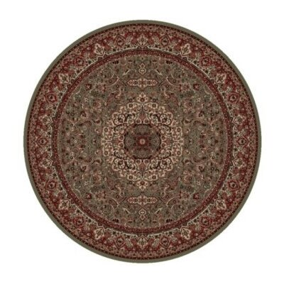 Persian Classics Green/Red Oriental Isfahan Area Rug Rug Size: Round 710