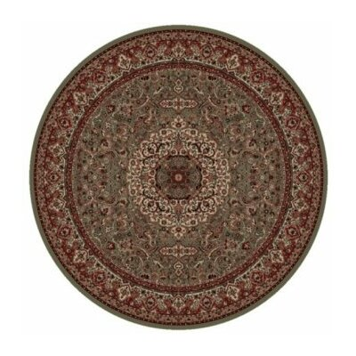 Persian Classics Green/Red Oriental Isfahan Area Rug Rug Size: Round 53