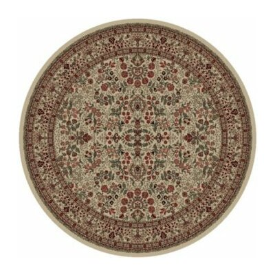Persian Classics Oriental Sarouk Ivory Area Rug Rug Size: Round 53