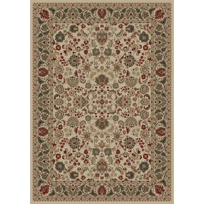 Persian Classics Oriental Mahal Ivory Area Rug Rug Size: 53 x 77