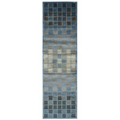Blue/Grey Area Rug Rug Size: Runner 23 x 77