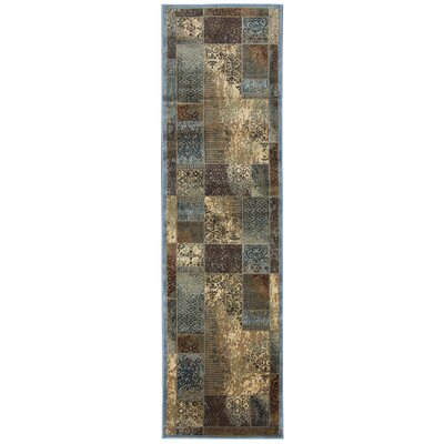 Blue/Tan Area Rug Rug Size: Runner 23 x 77