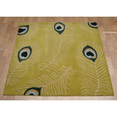 Hand-Tufted Green Area Rug Rug Size: Square 6