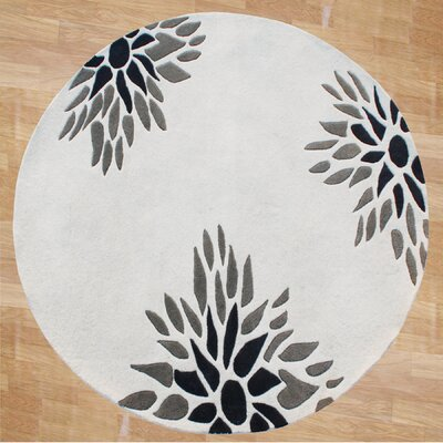 Newport Hand-Tufted Off-White Area Rug Rug Size: Round 6