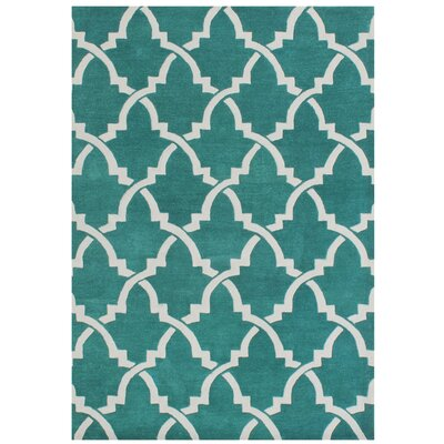 Horseshoe Hand-Tufted Peacock Green Area Rug Rug Size: 5 x 8