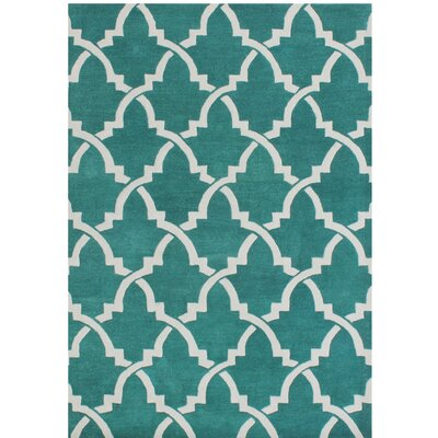 Horseshoe Hand-Tufted Peacock Green Area Rug Rug Size: 9 x 12