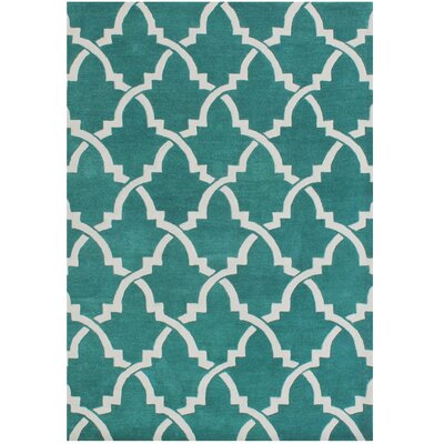 Horseshoe Hand-Tufted Peacock Green Area Rug Rug Size: 8 x 10