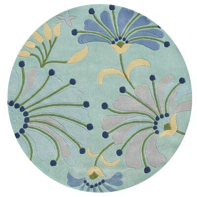 Giovanni Hand-Tufted Nile Blue Area Rug Rug Size: Round 6