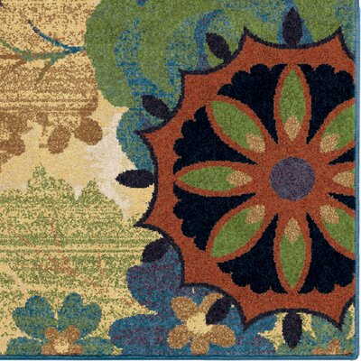 Reckless Medallion Blue Area Rug Rug Size: 53 x 76