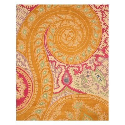Langell Hand-Tufted Orange Area Rug Rug Size: 89 x 119