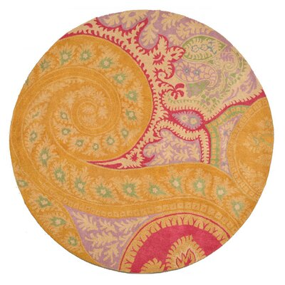 Langell Hand-Tufted Orange Area Rug Rug Size: Round 4
