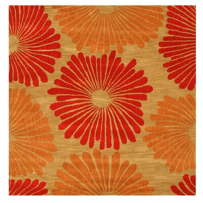 La Pine Hand-Tufted Red/Orange Area Rug Rug Size: Square 6