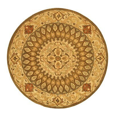 Hand-Tufted Brown Area Rug Rug Size: Round 79