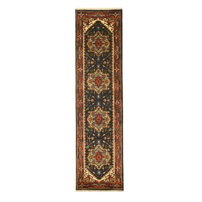 Geoffrey Hand Knotted Navy Area Rug Rug Size: Runner 26 x 10