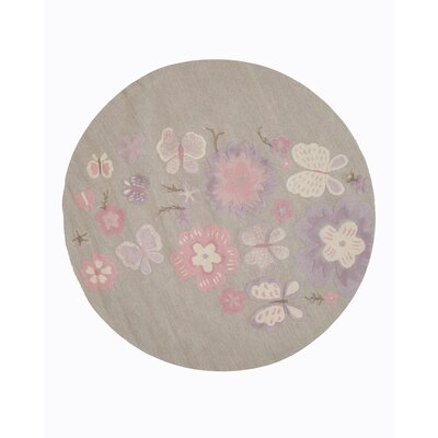 GretchenHand Tufted Gray Area Rug Rug Size: Round 4