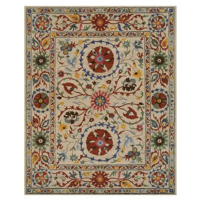 Leland Hand Tufted Ivory Area Rug Rug Size: Rectangle 5 x 8